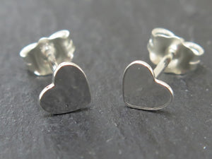 STERLING SILVER HEART EAR STUDS - mpl020