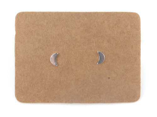 STERLING SILVER MOON EAR STUDS