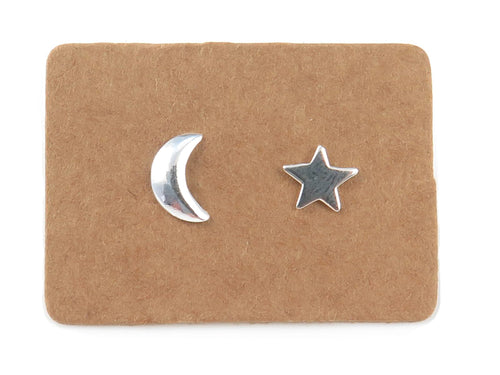 STERLING SILVER MOON AND STAR STUDS - MPL005
