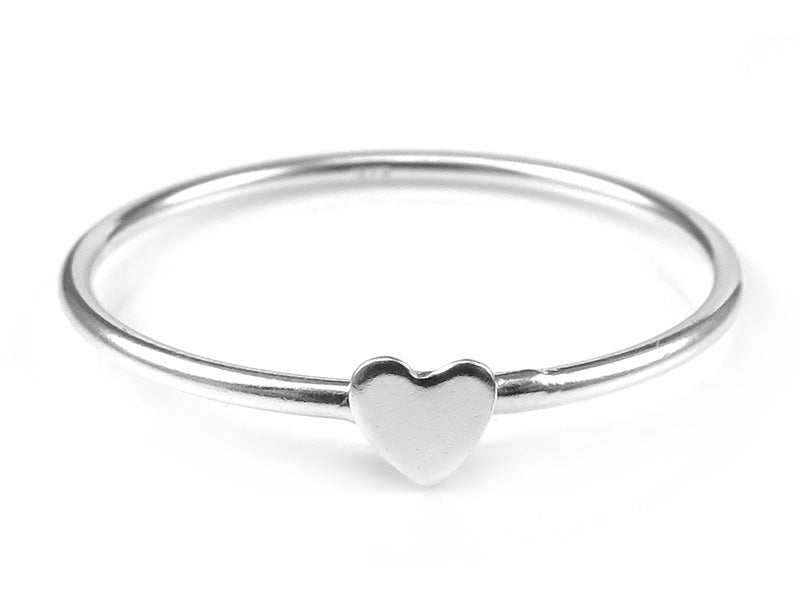 STERLING SILVER STACKING RING WITH HEART - Miss Pretty London UK Limited