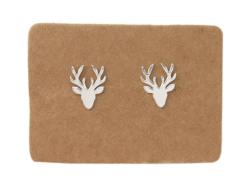 STERLING SILVER STAG'S HEAD EAR STUDS