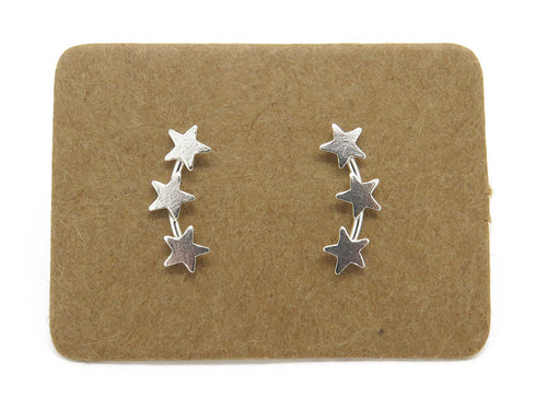 STERLING SILVER STAR EAR CREEPER STUDS - MPL057 - Miss Pretty London UK Limited