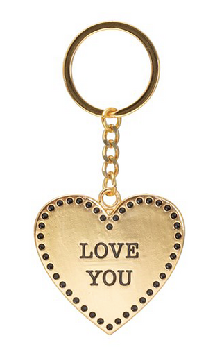 Gold Love Heart Keyring - Miss Pretty London UK Limited