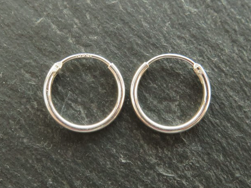 STERLING SILVER EARRING HOOP 12MM - MPLH001