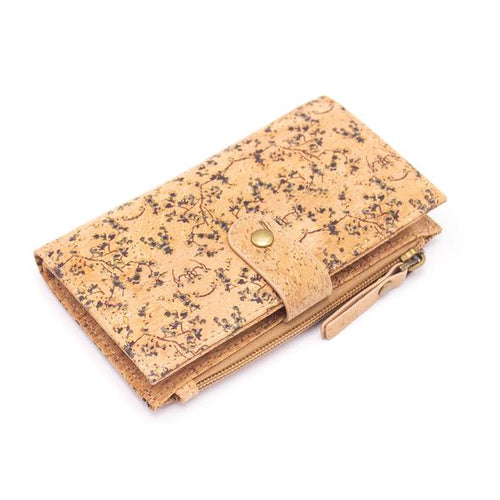 Natural Cork Vegan Friendly Card and Coin Wallet - Floral Vines Print - Miss Pretty London UK Limited