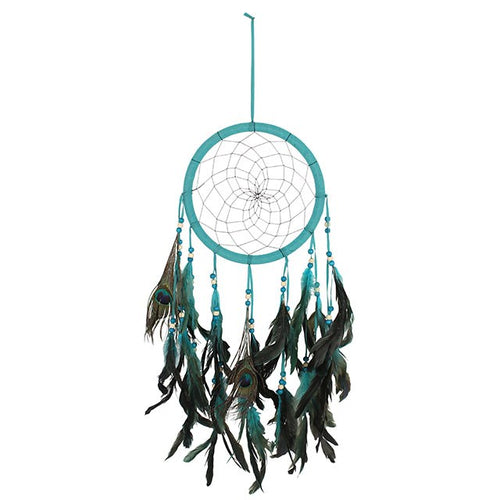 TURQUOISE PEACOCK FEATHER DREAMCATCHER