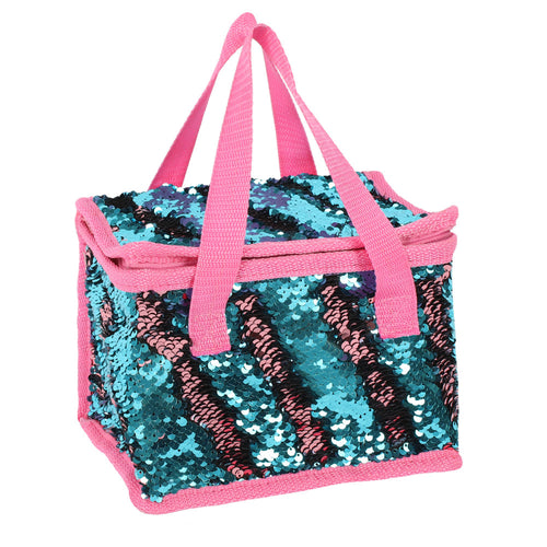 Blue and Pink Reversible Sequin Lunch Bag - Miss Pretty London UK Limited