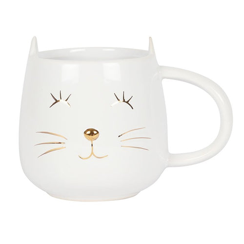 WHITE CAT FACE MUG