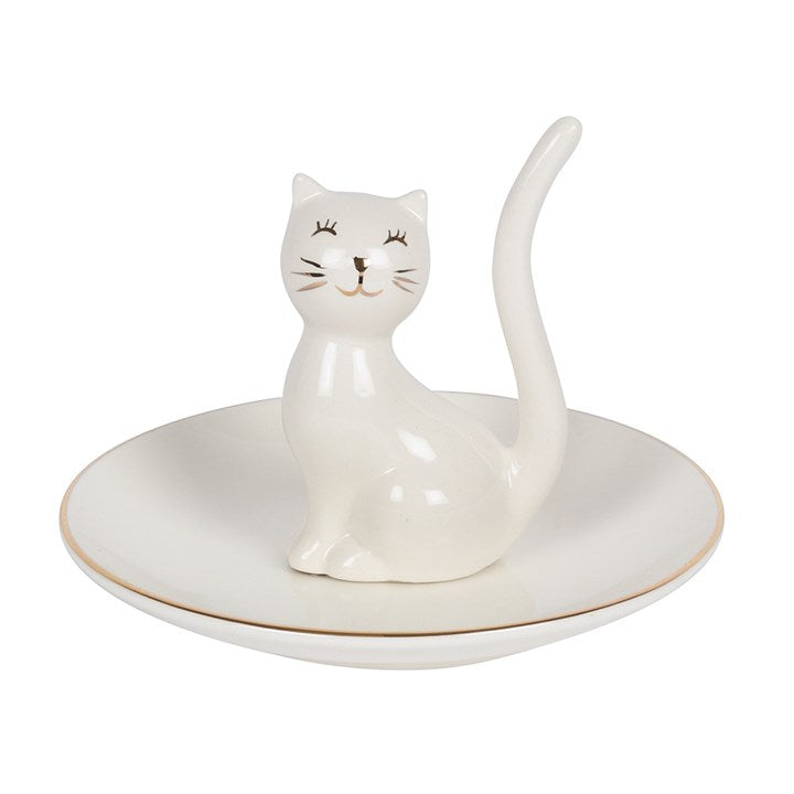 WHITE CAT TRINKET TRAY