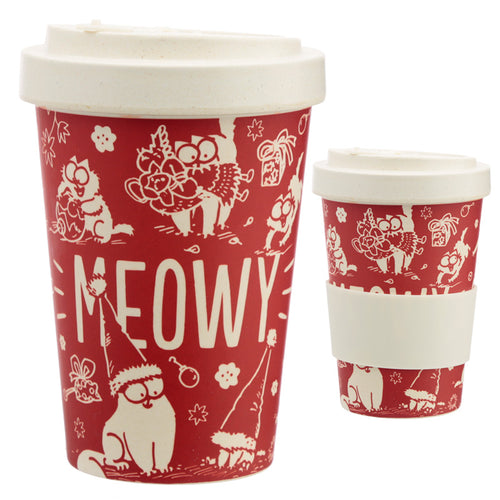 Bamboo Eco Friendly Christmas Simon's Cat Screw Top Travel Mug