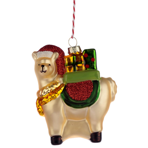 Glass Christmas Bauble - Llamapalooza with Gifts