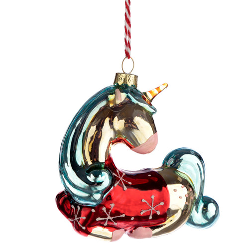 Glass Christmas Bauble - Metallic Enchanted Unicorn
