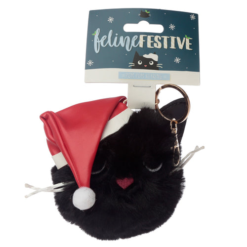 Fun Collectable Pom Pom Keyring - Christmas Festive Feline