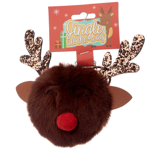 Fun Collectable Pom Pom Keyring - Christmas Reindeer