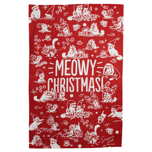 Simon's Cat Meowy Christmas Poly Cotton Tea Towel