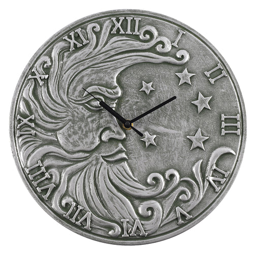 Silver Effect Terracotta Moon Clock