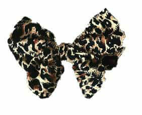 Animal Print Cotton Hair Bow Clip