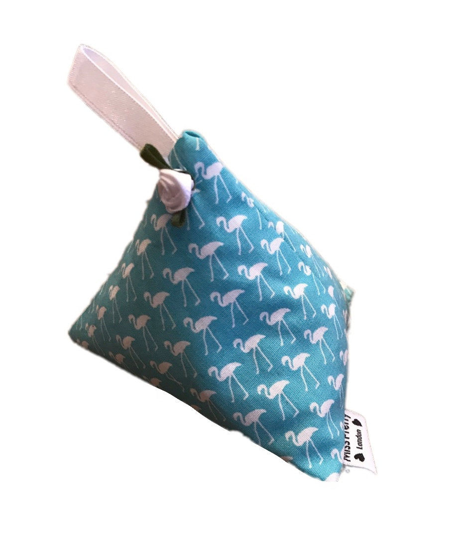 Aqua Blue Flamingo Print Lavender Bag