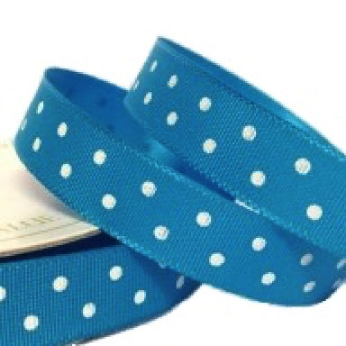 Aqua Polka Dot Ribbon - 10mm Wide - Miss Pretty London UK Limited