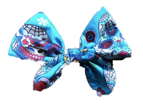 Aqua Blue Mexican Sugar Skulls Print Cotton Hair Bow Clip