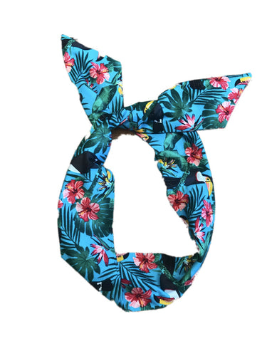 Aqua Blue Toucan Print Wire Headband