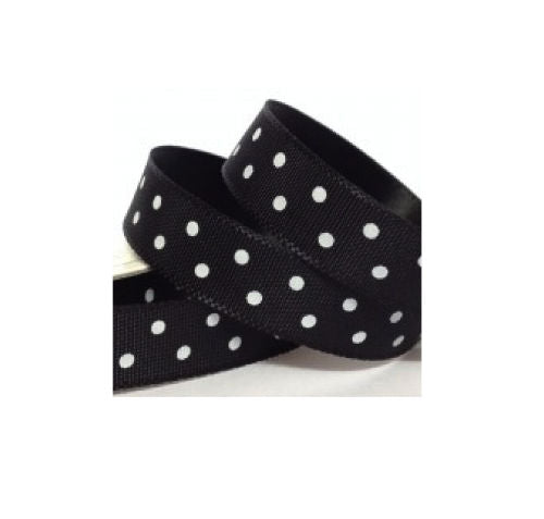 Black and White Polka Dot Ribbon - 10mm Wide - Miss Pretty London UK Limited