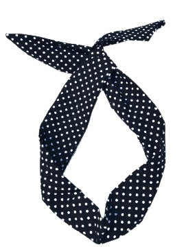 Black and White Polka Dot Print Wire Headband