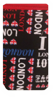 Black London Print Mobile Phone Sock Pouch - Miss Pretty London UK Limited