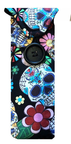 Black Mexican Skulls Print Glasses Case - Miss Pretty London UK Limited
