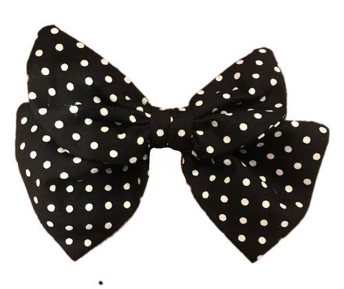 Black Polka Dot Print Cotton Hair Bow Clip