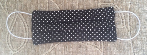 Black Polka Dot Print Face Mask