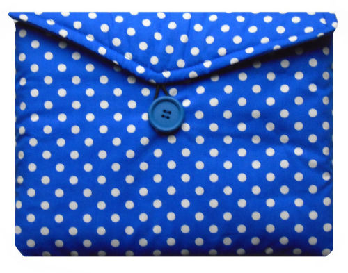 Blue and White Polka Dot Print Tablet Bag