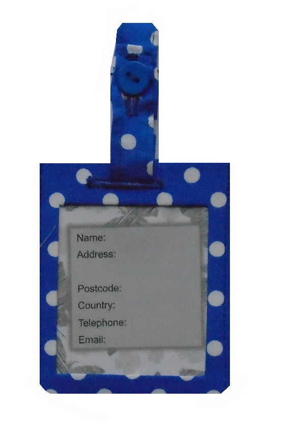 Blue and White Polka Dot Print Luggage Identity Bag Tag - Miss Pretty London UK Limited