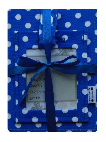 Blue and White Polka Dot Print Passport Cover and Luggage Tag Gift Set