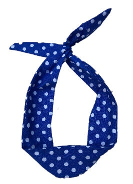 Blue and White Polka Dot Print Wire Headband