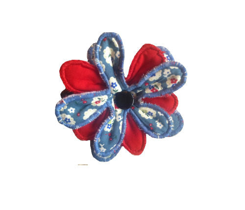 Blue Cherry Blossom Print Flower Brooch - Miss Pretty London UK Limited