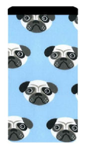 Blue Pug Print Mobile Phone Sock Pouch