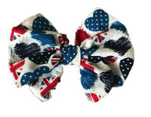 British Hearts Cotton Hair Bow Clip