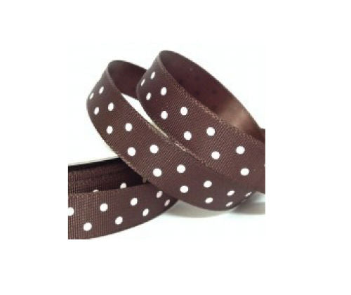 Brown Polka Dot Ribbon - 10mm Wide - Miss Pretty London UK Limited