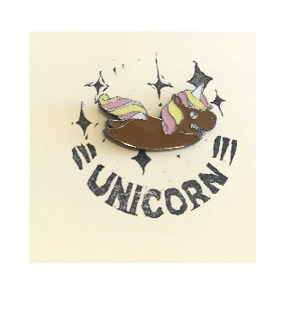 Brown Unicorn Pin Badge