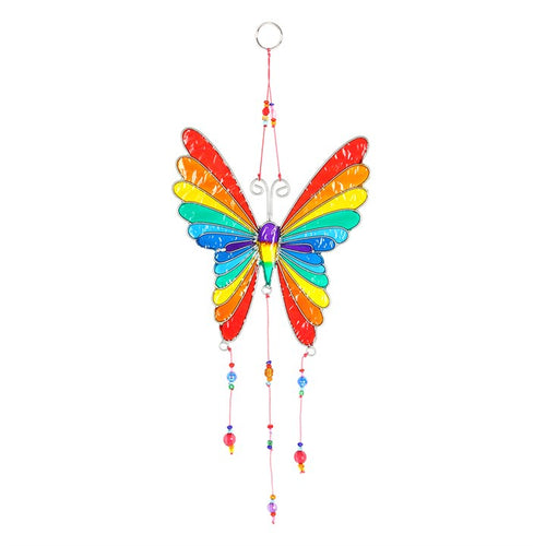 RAINBOW BUTTERFLY SUNCATCHER WITH BEADS