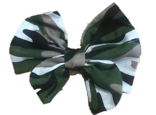 Camo Print Cotton Hair Bow Clip