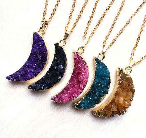Druzy Stone Crescent Moon Gold Coloured Sterling Silver Necklace - Moon006