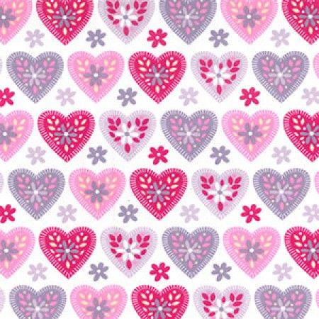 Pink and Purple Hearts Print Cotton Craft Fabric