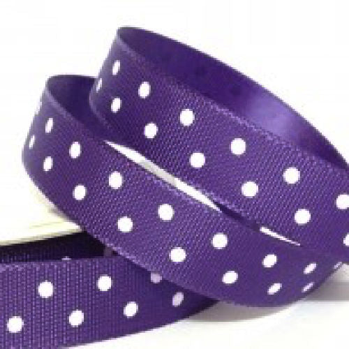 Purple Polka Dot Ribbon - 10mm Wide - Miss Pretty London UK Limited