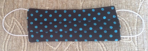 Dark Blue Polka Dot Print Face Mask - Miss Pretty London UK Limited