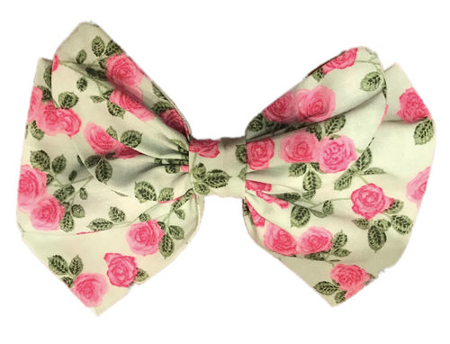 English Roses Print Cotton Hair Bow Clip