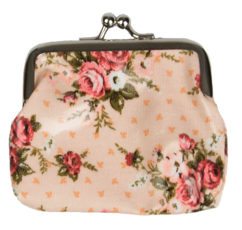 Floral Roses Print Ladies Coin Purse - Miss Pretty London UK Limited