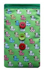Green Quacky Ducks Print Mobile Phone Sock Pouch - Miss Pretty London UK Limited