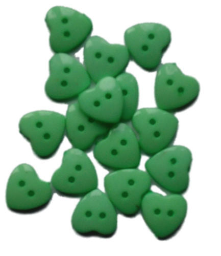 Green__Plastic_Heart_Buttons_-_Pack_of_10